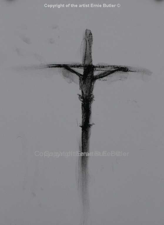 sketch charcoal crucifixtion original print drawing