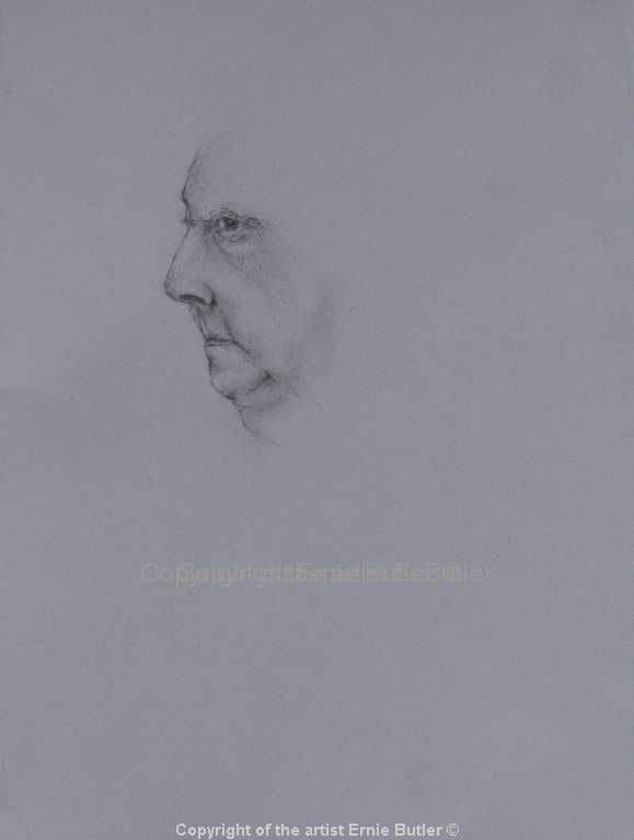 Portrait of the artists mother profile Pencil drawing